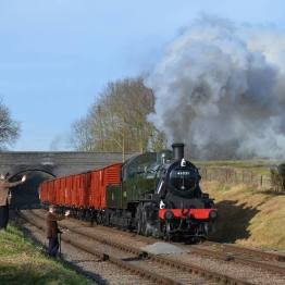 Image: Jacob Peatfield-Straw, 466521 running past a pair of Gangers at Rabbit Bridge